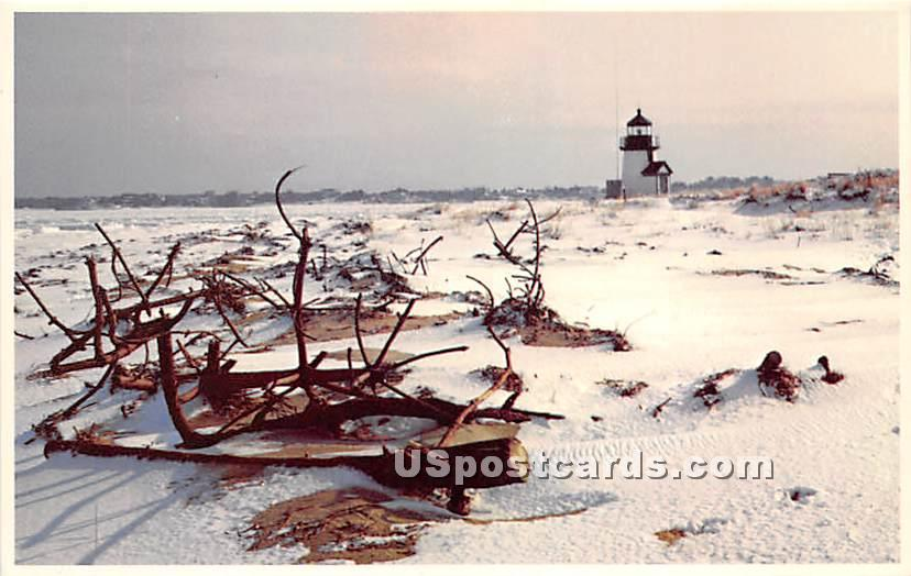 Winter Time at Brant Point - Nantucket, Massachusetts MA Postcard