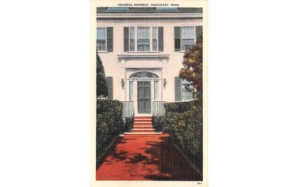 Colonial Doorway Nantucket, Massachusetts Postcard