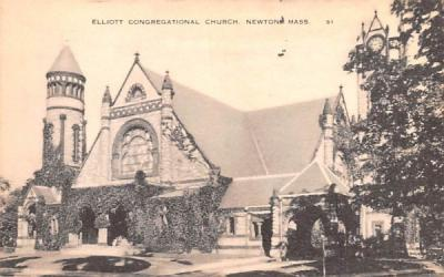 Elliott Congregational Church Newton, Massachusetts Postcard