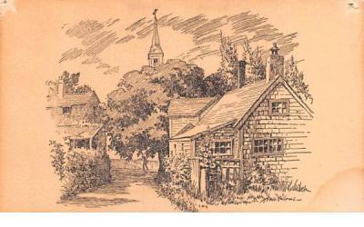 Cottages & Church Nantucket, Massachusetts Postcard
