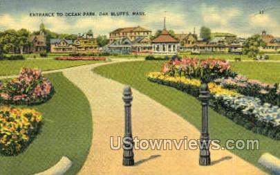 Entrance, Ocean Park - Oak Bluffs, Massachusetts MA Postcard