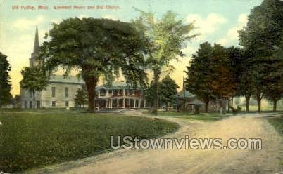 Elmwood House & Old Church - Hadley, Massachusetts MA Postcard