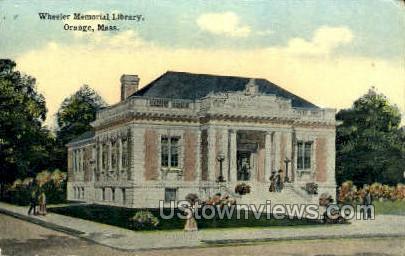 Wheeler Memorial Library - Orange, Massachusetts MA Postcard