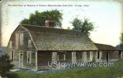 First Home of Masonry - Orange, Massachusetts MA Postcard