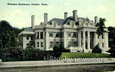 Wheelen Residence - Orange, Massachusetts MA Postcard