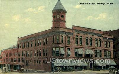 Mann's Block - Orange, Massachusetts MA Postcard