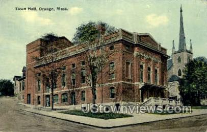 Town Hall - Orange, Massachusetts MA Postcard