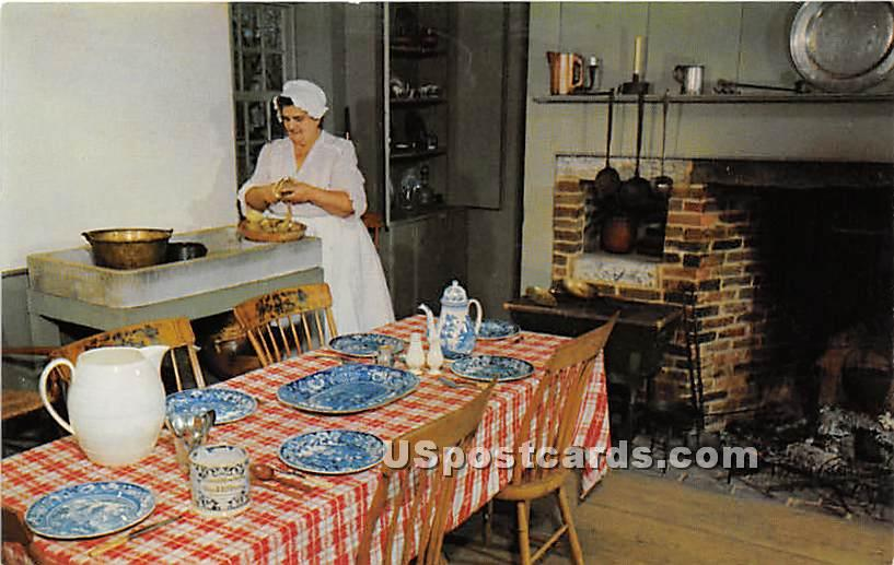 Table is Set with flow blue Staffordshire - Old Sturbridge Village, Massachusetts MA Postcard