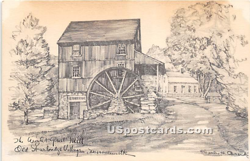 The Wight Grist Mill - Old Sturbridge Village, Massachusetts MA Postcard