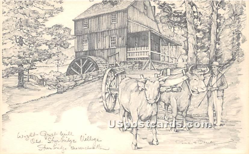 Wight Grist Mill - Old Sturbridge Village, Massachusetts MA Postcard