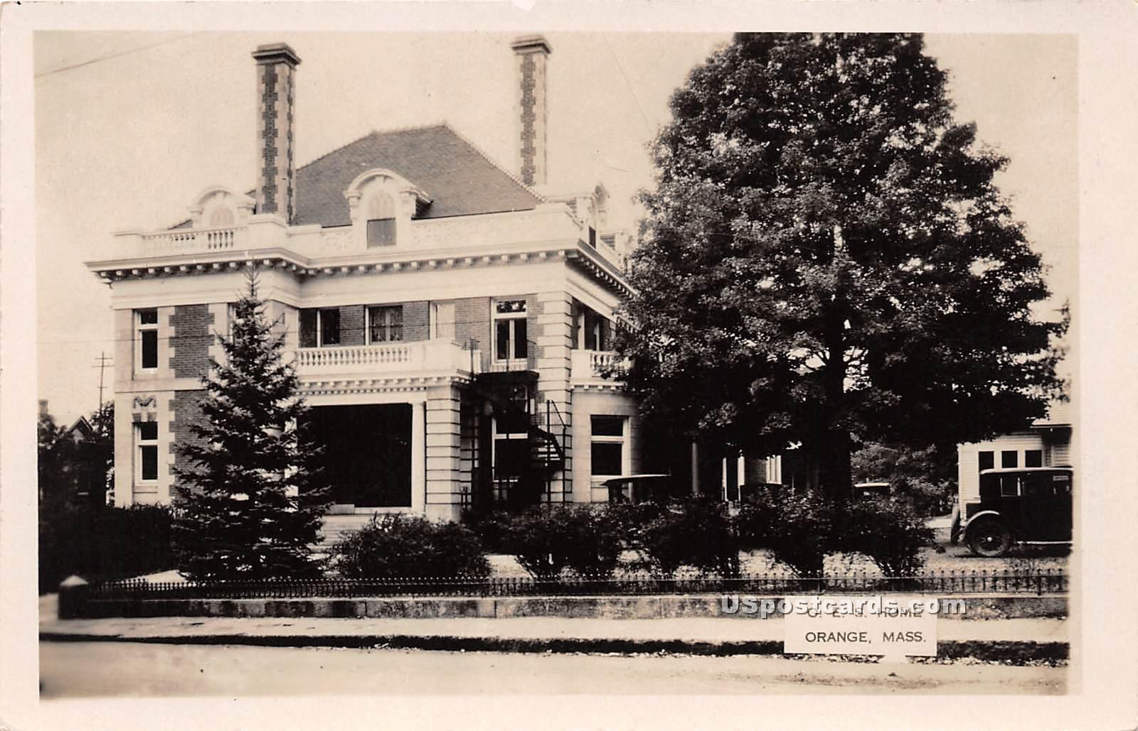O E S Home - Orange, Massachusetts MA Postcard