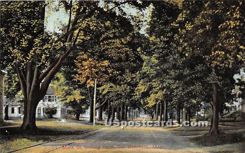 Main Street looking North - Old Deerfield, Massachusetts MA Postcard