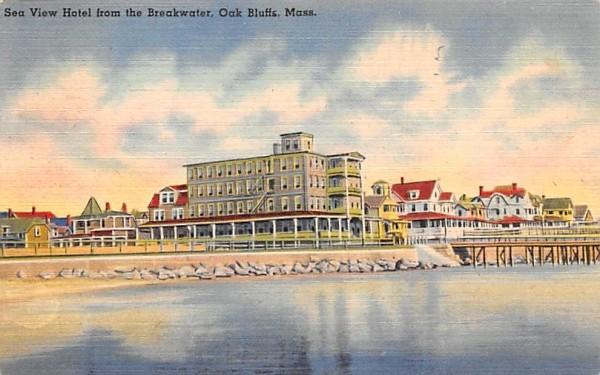 Sea View Hotel from the Breakwater Oak Bluffs, Massachusetts Postcard