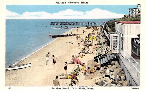 Bathing Beach Oak Bluffs, Massachusetts Postcard