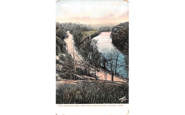 View of State Road & River Orange, Massachusetts Postcard