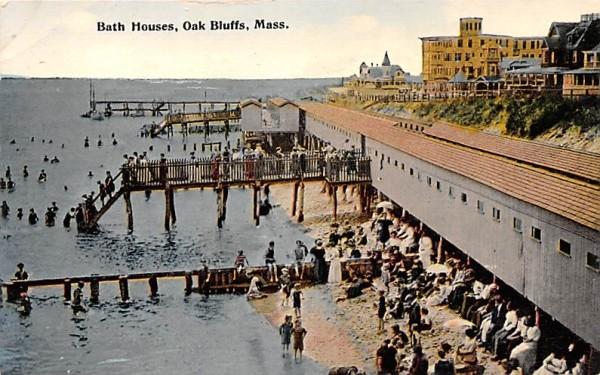 Bath Houses Oak Bluffs, Massachusetts Postcard