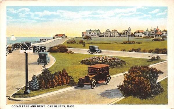Ocean Park & Drive Oak Bluffs, Massachusetts Postcard