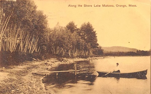 Along the Shore Lake Mattawa Orange, Massachusetts Postcard