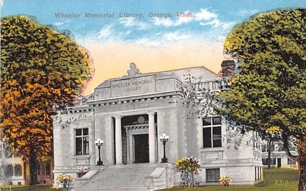 Wheeler Memorial Library Orange, Massachusetts Postcard