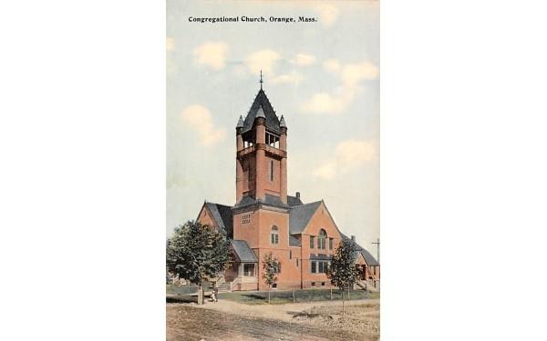 Congregational Church  Orange, Massachusetts Postcard