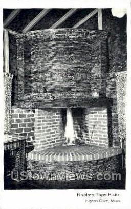 Fireplace, Paper House - Pigeon Cove, Massachusetts MA Postcard