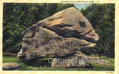 Balance Rock - Pittsfield, Massachusetts MA Postcard