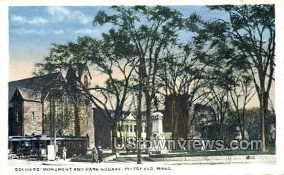 Soldiers' Monument & Park Square - Pittsfield, Massachusetts MA Postcard