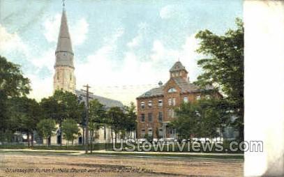 Catholic Church & Convent - Pittsfield, Massachusetts MA Postcard