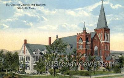 St. Charles Church & Rectory - Pittsfield, Massachusetts MA Postcard