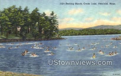 Bathing Beach, Onota Lake - Pittsfield, Massachusetts MA Postcard