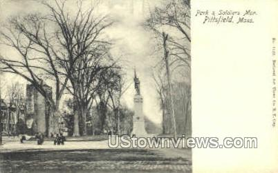 Park & Soldiers Monument - Pittsfield, Massachusetts MA Postcard