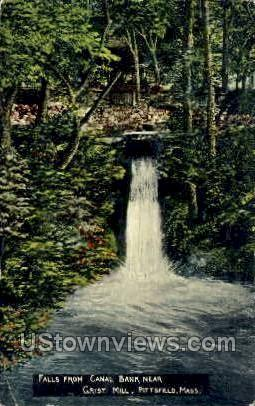 Falls from Canal Bank - Pittsfield, Massachusetts MA Postcard