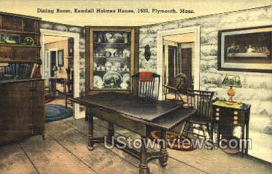 Dining Room, Kendall Holmes House - Plymouth, Massachusetts MA Postcard