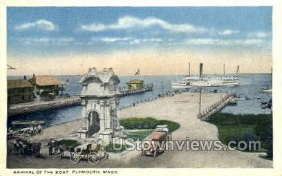 Arrival of the Boat - Plymouth, Massachusetts MA Postcard