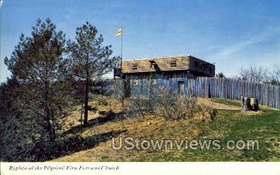 First Fort & Church - Plymouth, Massachusetts MA Postcard