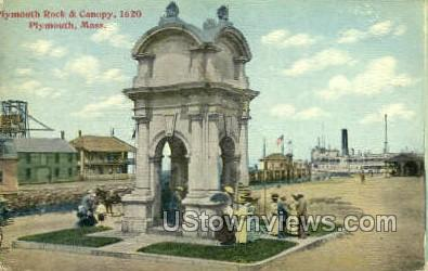 Plymouth Rock & Canopy - Massachusetts MA Postcard