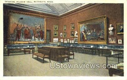 Interior, Pilgrim Hall - Plymouth, Massachusetts MA Postcard