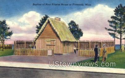 Raplica of First Pilgrim House - Plymouth, Massachusetts MA Postcard
