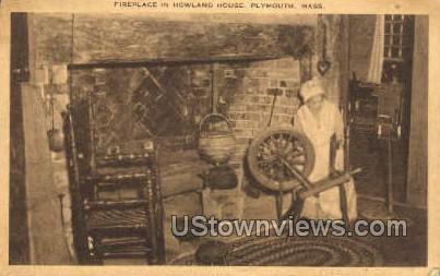 Fireplace, Howland House - Plymouth, Massachusetts MA Postcard