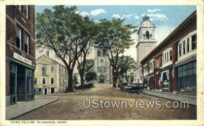 Town Square - Plymouth, Massachusetts MA Postcard