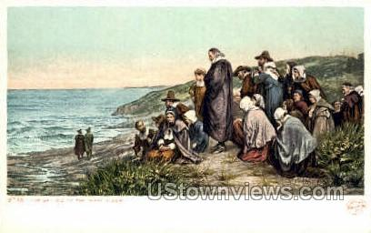 The Sailing of the Mayflower - Plymouth, Massachusetts MA Postcard