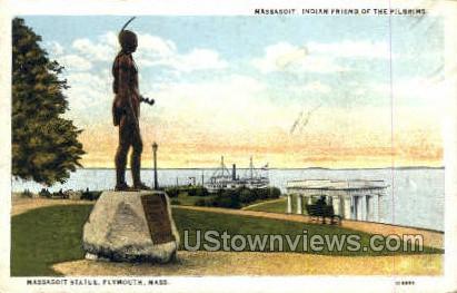 Massasoit Statue - Plymouth, Massachusetts MA Postcard