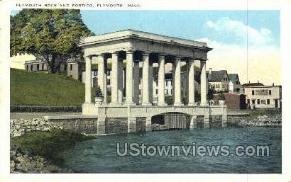 Plymouth Rock & Portico - Massachusetts MA Postcard