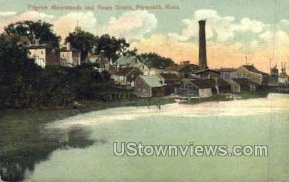 Pilgrim Meersteads & Town Brook - Plymouth, Massachusetts MA Postcard
