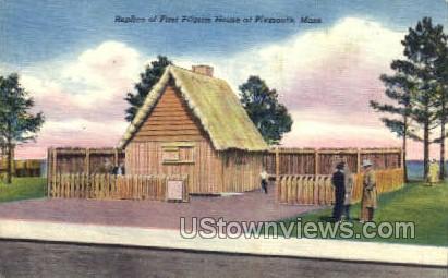 Replica of First Pilgrim House - Plymouth, Massachusetts MA Postcard