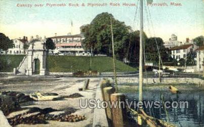 Canopy, Plymouth Rock - Massachusetts MA Postcard