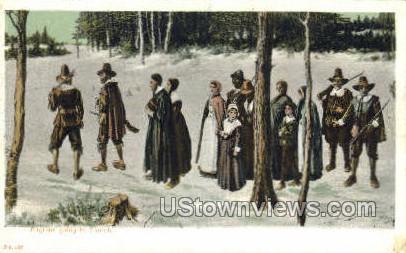 Pilgrims going to Church - Plymouth, Massachusetts MA Postcard