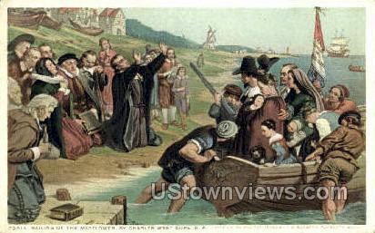 Sailing of the Mayflower - Plymouth, Massachusetts MA Postcard