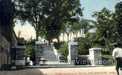 Steps Leading to Burial Hill - Plymouth, Massachusetts MA Postcard