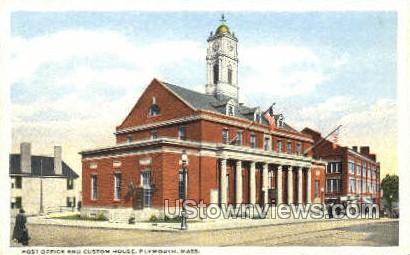 Post Office & Custom House - Plymouth, Massachusetts MA Postcard